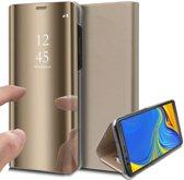 Spiegel Hoesje voor Samsung Galaxy A7 (2018) Lederen Wallet Book Case van iCall - Goud
