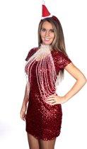 Toppers pailletten jurkje rood L