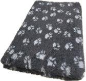 Topmast Vetbed Hondendeken Dierenmat - Antraciet Met Voetprint -  Anti-Slip - 150 x 100 cm