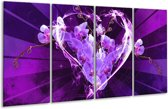 Glasschilderij Orchidee | Paars, Roze | 160x80cm 4Luik | Foto print op Glas |  F005853