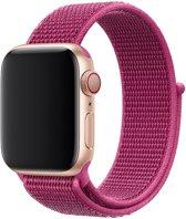Shop4 - Apple Watch 5/4 44mm Bandje - Medium Nylon Donker Roze