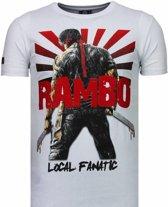 Local Fanatic Rambo Shine - Rhinestone T-shirt - Wit - Maten: S