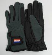 MaChique paardrijhandschoenen zwart/grijs met kunstlederen binnenzijde en katoenen bovenzijde maat L HT5125