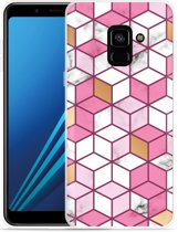 Samsung Galaxy A8 Plus 2018 Hoesje Pink-gold-white Marble