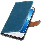Wicked Narwal | Premium PU Leder bookstyle / book case/ wallet case voor Huawei Y7 / Y7 Prieme Blauw
