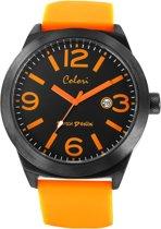 Colori Dutch Design 5 COL349 Horloge - Siliconen Band - Ø 48 mm - Zwart / Oranje