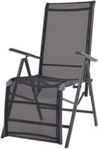 Ligstoel verstelbaar 58,5x69x110 cm textileen zwart