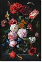 Canvas Schilderij Stilleven met bloemen in een glazen vaas - Jan Davidsz de Heem
