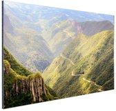Kronkelende bergweg Brazilie Aluminium 90x60 cm - Foto print op Aluminium (metaal wanddecoratie)