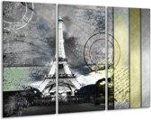 Glas schilderij Parijs, Eiffeltoren | Grijs | 120x80cm 3Luik | Foto print op Glas |  F007502