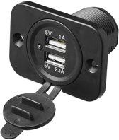 USB inbouwdoos 12V/24V (tweevoudig)