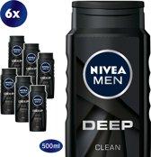 NIVEA MEN Deep Clean Douchegel - 6 x 500ml - Voordeelverpakking