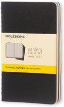 Moleskine cahier notitieboek (set van 3) zwart - Pocket - Geruit