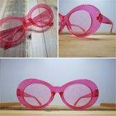Planga Roze & glitter glazen sixty, seventy, eighties zonnebril.