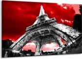 Canvas schilderij Eiffeltoren | Rood, Zwart, Grijs | 140x90cm 1Luik