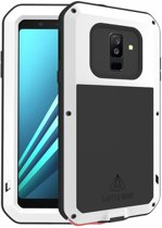 Metalen fullbody hoes voor Samsung Galaxy A6 Plus (2018) / A6+ (2018), Love Mei, metalen extreme protection case, zwart-wit