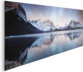 Zonsondergang bergmeer  - Schilderij 156 x 52 cm