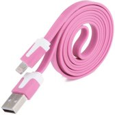 Datakabel 2 meter voor lightning Apple Roze Pink
