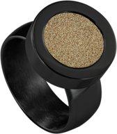 Quiges RVS Schroefsysteem Ring Zwart Glans 17mm met Verwisselbare Glitter Goudkleurig 12mm Mini Munt