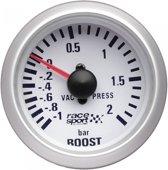 Race Sport Turbodrukmeter 52 Mm 12 Volt Wit