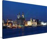 De skyline van Liverpool in Europa tijdens de nacht Canvas 40x20 cm - Foto print op Canvas schilderij (Wanddecoratie woonkamer / slaapkamer) / Europese steden Canvas Schilderijen