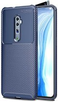 Teleplus Oppo Reno 10x Zoom Case Negro Carbon Silicone Navy Blue + Full Covering Glass hoesje