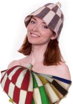 "saunamuts ""cage"" tweekleur ZWART/WIT A-227 sauna vilten hoed"