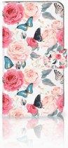 Huawei Mate 9 Uniek Boekhoesje Butterfly Roses