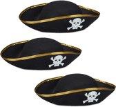 relaxdays 3 x piratenhoed zwart in set - piraat hoed - doodskop - carnaval – piraten
