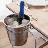 Champagne koeler + houder - Wijn koeler - Ijs emmer - 4 liter - RVS - Wijnkoeler - Inclusief houder
