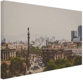 Columbus standbeeld in Barcelona Canvas 180x120 cm - Foto print op Canvas schilderij (Wanddecoratie woonkamer / slaapkamer) / Steden Canvas Schilderijen XXL / Groot formaat!