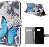 Samsung Galaxy S6 Edge Portemonnee Print Hoesje Blue Butterflies