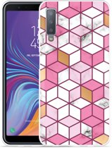 Galaxy A7 2018 Hoesje Pink-gold-white Marble