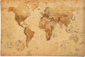 Poster - Wereldkaart - Oud Vintage Antiek Perkament Stijl - 61x91,5 cm