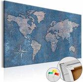 Afbeelding op kurk - Blauwe planeet, wereldkaart, Blauw, 3 Maten, 1luik