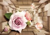 Fotobehang Pink Rose Wood Plankets   XXL - 206cm x 275cm   130g/m2 Vlies