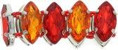Rood/ Oranje elastische armband met stenen