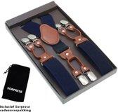 Luxe chique bretels - Donkerblauw effen dessin - Sorprese - midden bruin leer - 6 stevige clips - heren - unisex