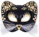 Oogmasker zwarte kat met goud