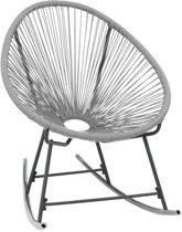 vidaXL Tuinmaanstoel schommelend poly rattan grijs