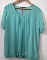 Pink Lady dames blouse licht groen uni KM - maat S