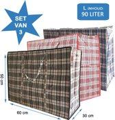 MixMamas - Big Shopper / Boodschappentas L - 60 x 50 cm - Set van 3 - Rood/Blauw/Zwart