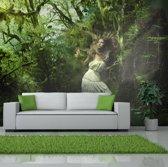 Fotobehang - Verloren in het bos , groen wit , 5 maten