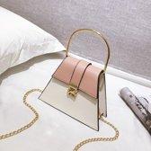 Kleur bijpassende metalen handvat PU lederen ketting één schoudertas dames handtas messengertas (roze)