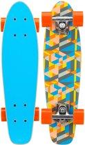 """Nijdam Skateboard 22.5"""" Hout - Free Flip Board - Blauw/Fluororanje/Grijs"""