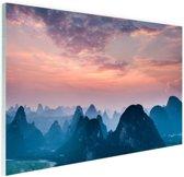 Berg horizon Glas 90x60 cm - Foto print op Glas (Plexiglas wanddecoratie)