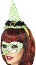 Wicked Witch setje: diadeem met mini hoedje & oogmasker