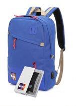 AmpBag rugzak met USB oplaadpoort en powerbank 3.000mAh (blauw).