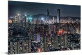 Nachtfoto van Shenzhen Aluminium 60x40 cm - Foto print op Aluminium (metaal wanddecoratie)
