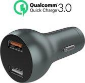 Chargeroo Dubbele Auto Oplader 2x USB - Qualcomm Quick Charge 3.0 – Aluminium 12V Autolader